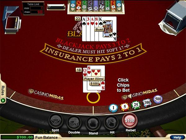 online casino midas blackjack